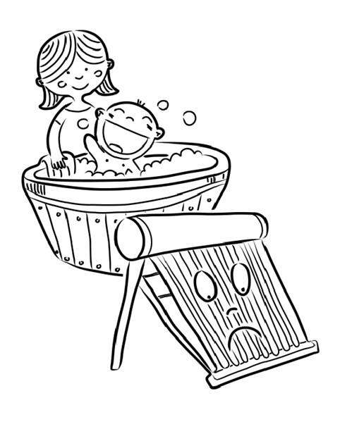 木桶放热水直冒烟简笔画图片.