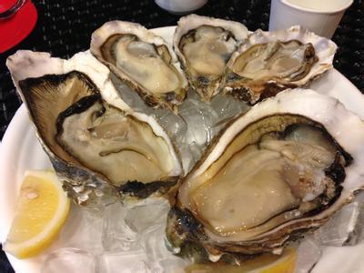 牡蛎,软体动物,有两个贝壳,一个小而平,另一个大而隆起,呈类三角形,背